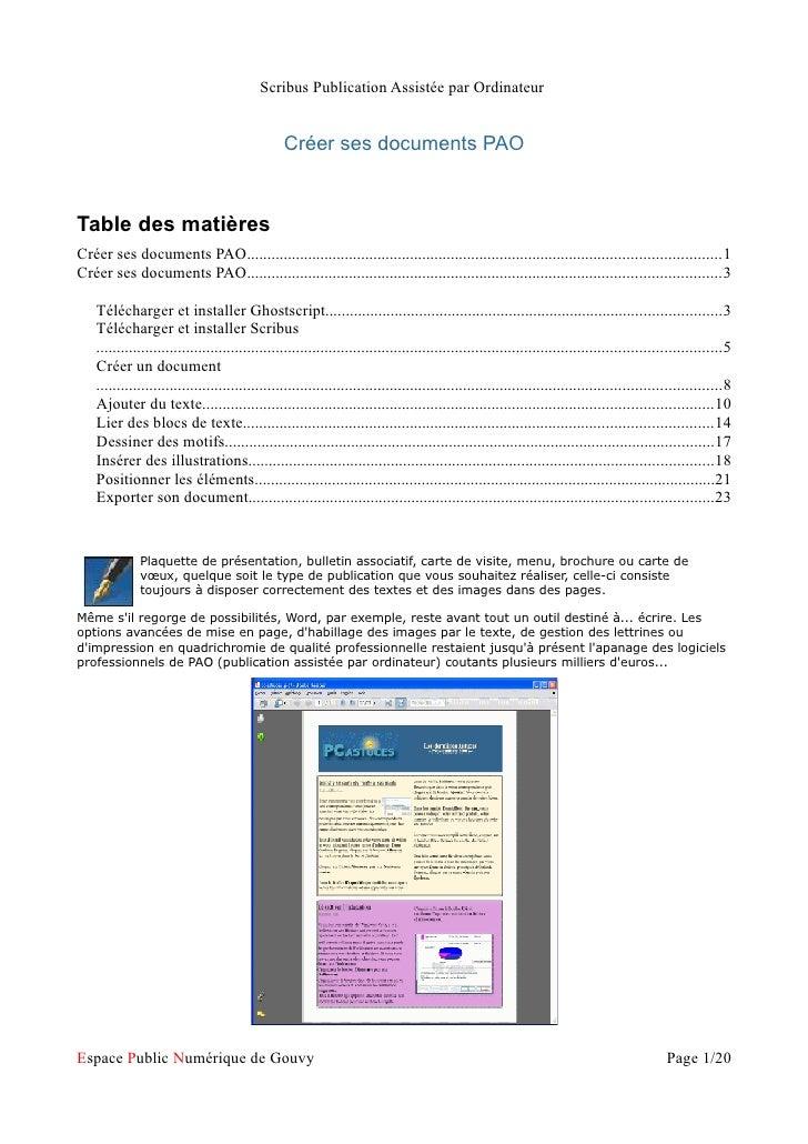 Scribus Publication Assistée par Ordinateur                                                 Créer ses documents PAOTable d...