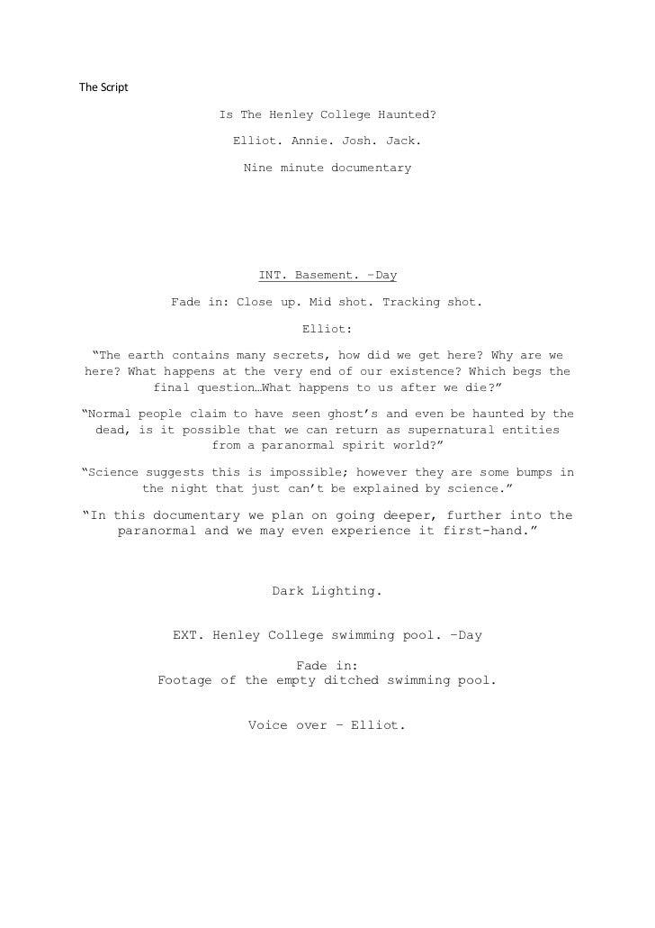 The Script                    Is The Henley College Haunted?                      Elliot. Annie. Josh. Jack.              ...