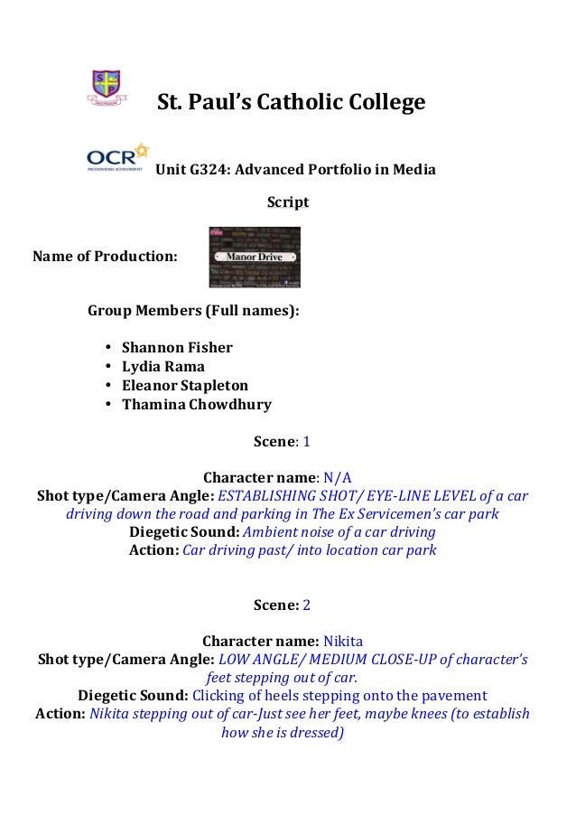St.  Paul's  Catholic  College     Unit  G324:  Advanced  Portfolio  in  Media   ...