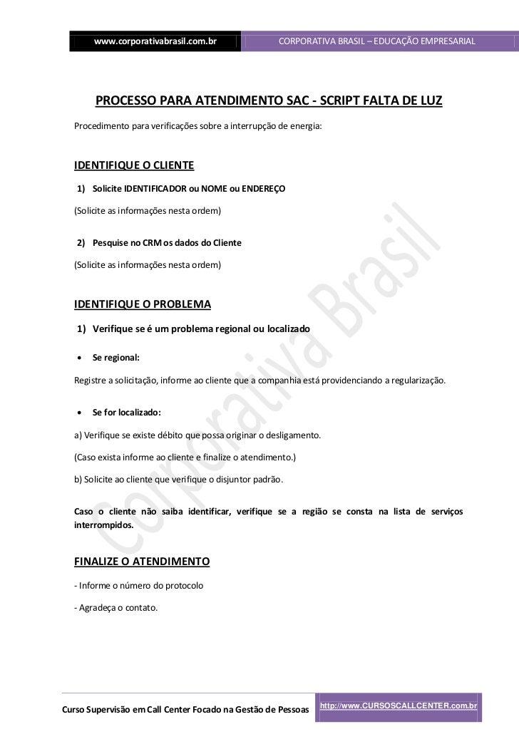 www.corporativabrasil.com.br                     CORPORATIVA BRASIL – EDUCAÇÃO EMPRESARIAL       PROCESSO PARA ATENDIMENTO...