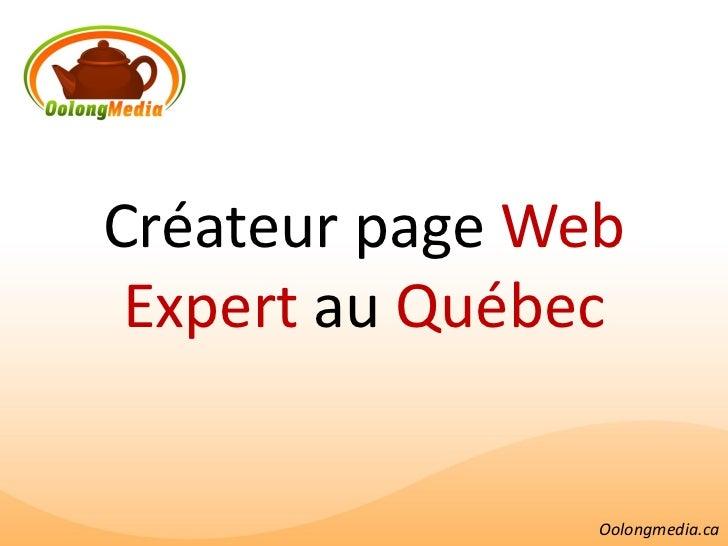 Créateur page Web Expert au Québec                Oolongmedia.ca