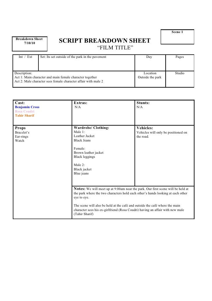 Script breakdown sheet 1st scene tahir for Scene breakdown template