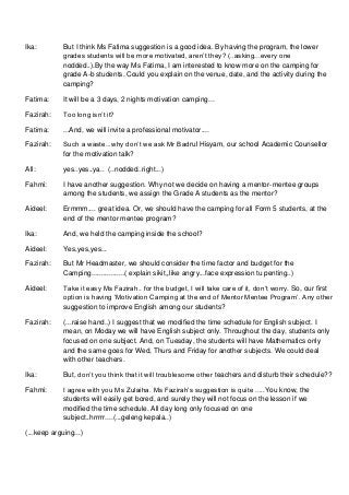 Script for english meeting