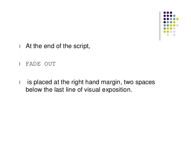 how to mark the end of a screen play