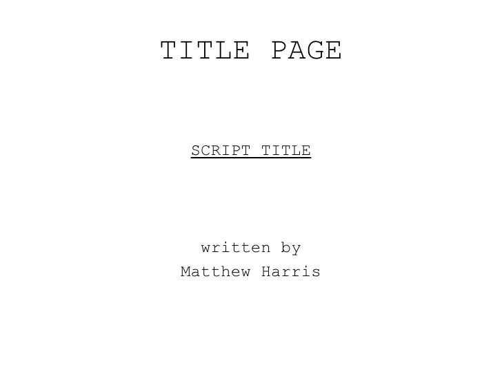 screenplay cover page format people davidjoel co