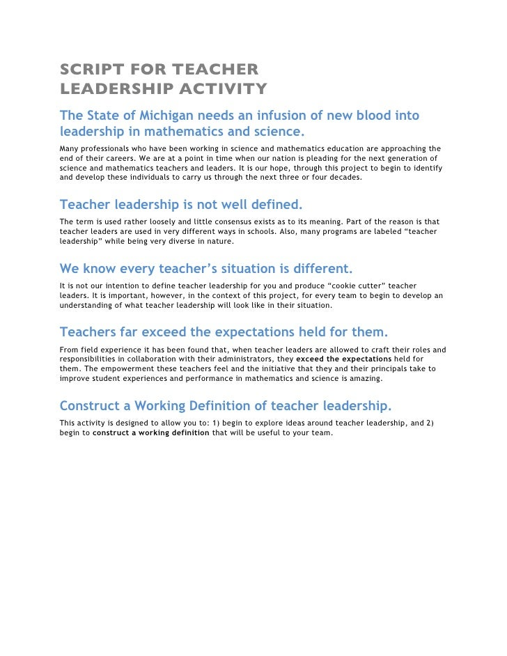 SCRIPT FOR TEACHER LEADERSHIP ACTIVITY The State of Michigan needs an infusion of new blood into leadership in mathematics...