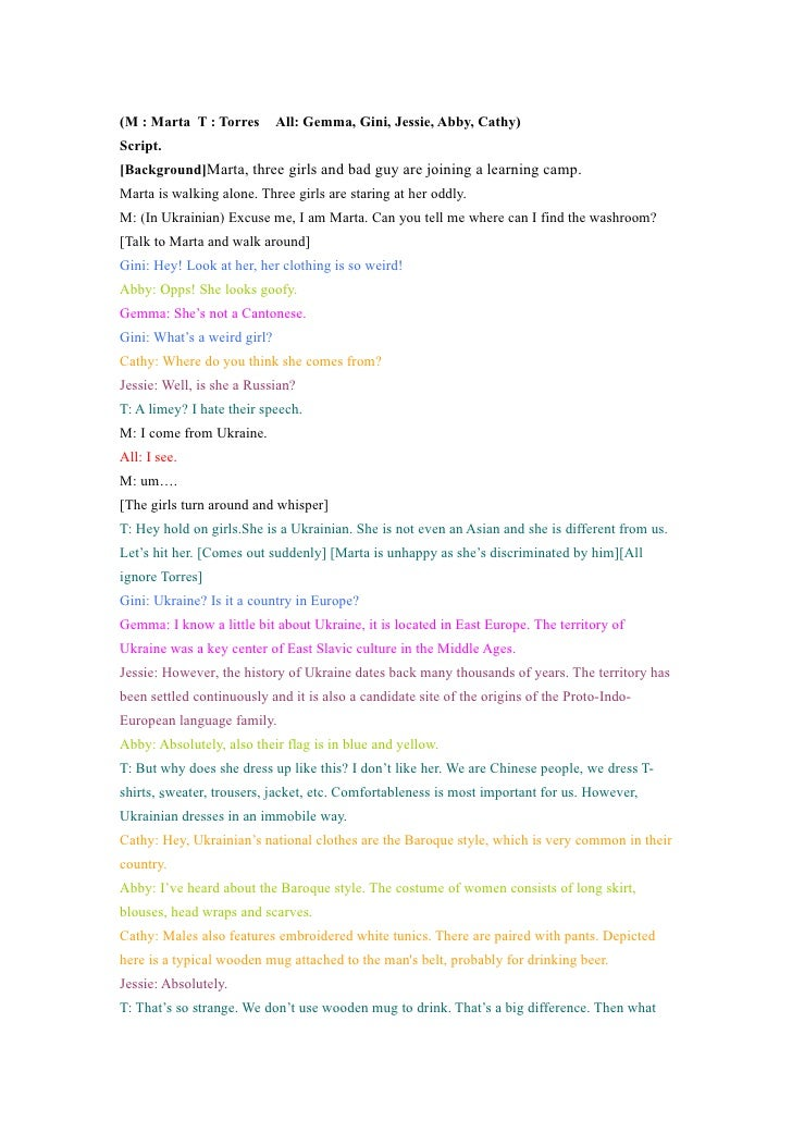 (M : Marta T : Torres  All: Gemma, Gini, Jessie, Abby, Cathy)Script.[Background]Marta, three girls and bad guy are joining...