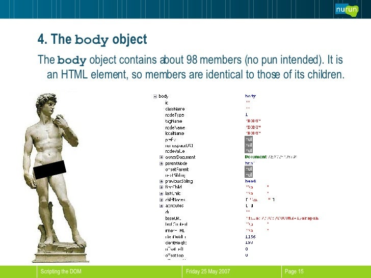 4. The   body  object <ul><li>The  body  object contains about 98 members (no pun intended). It is an HTML element, so mem...