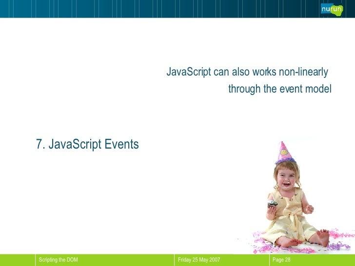 <ul><li>JavaScript can also works non-linearly  </li></ul><ul><li>through the event model </li></ul>7. JavaScript Events