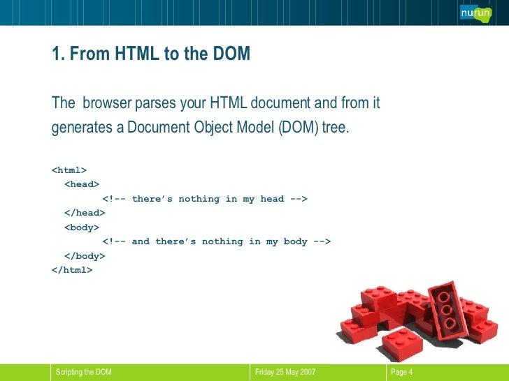 <ul><li>The  browser parses your HTML document and from it  </li></ul><ul><li>generates a Document Object Model (DOM) tree...