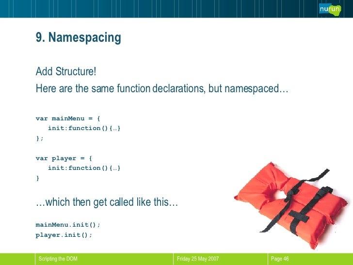 9. Namespacing <ul><li>Add Structure!  </li></ul><ul><li>Here are the same function declarations, but namespaced… </li></u...
