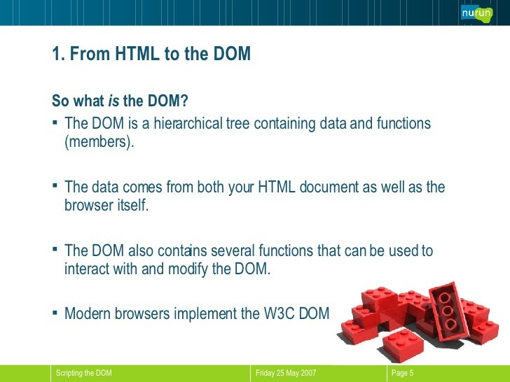 1. From HTML to the DOM <ul><li>So what  is  the DOM? </li></ul><ul><li>The DOM is a hierarchical tree containing data and...