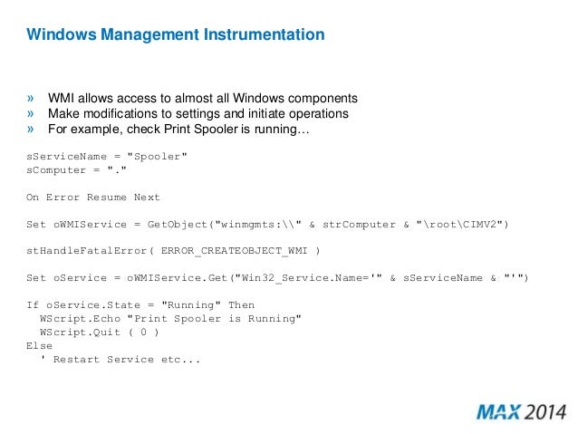 Scripting and Automation within the MAX Platform - Mark Petrie