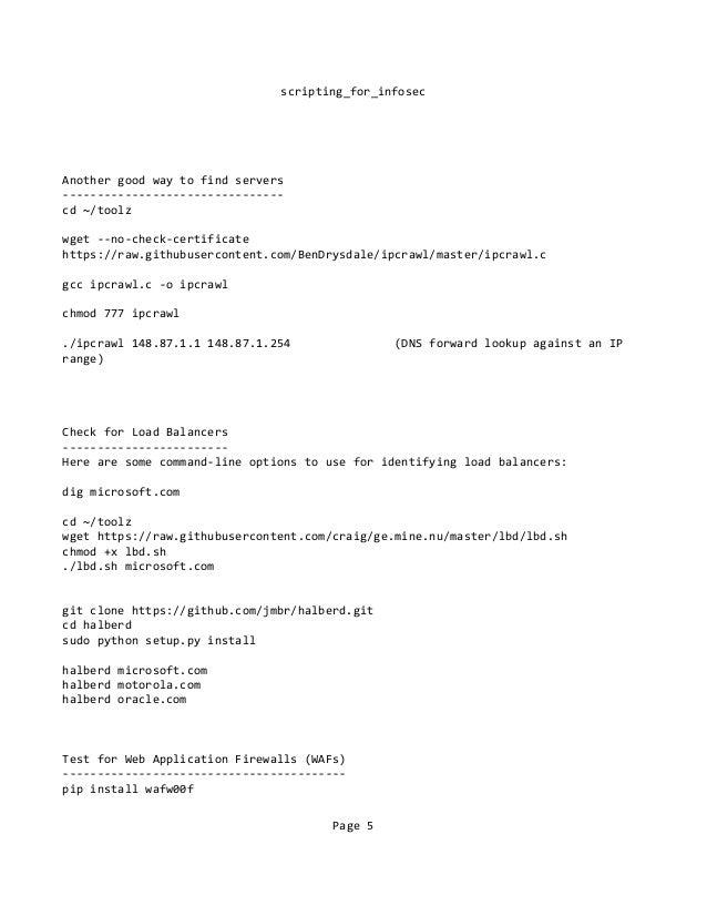 Scripting for infosecs