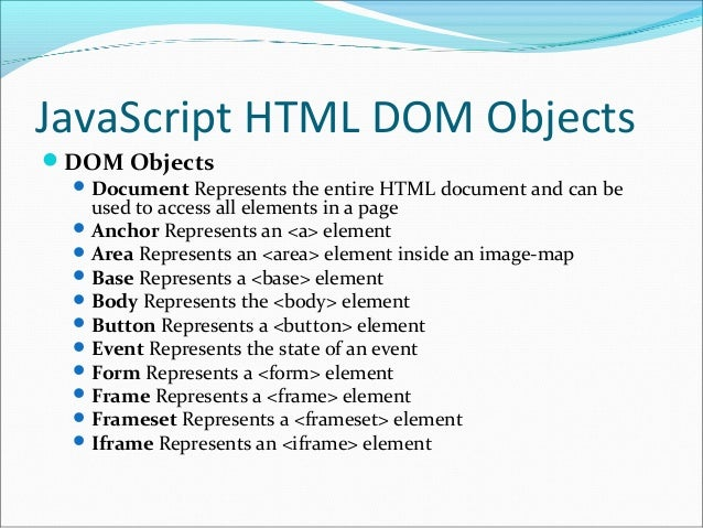define document object model in javascript