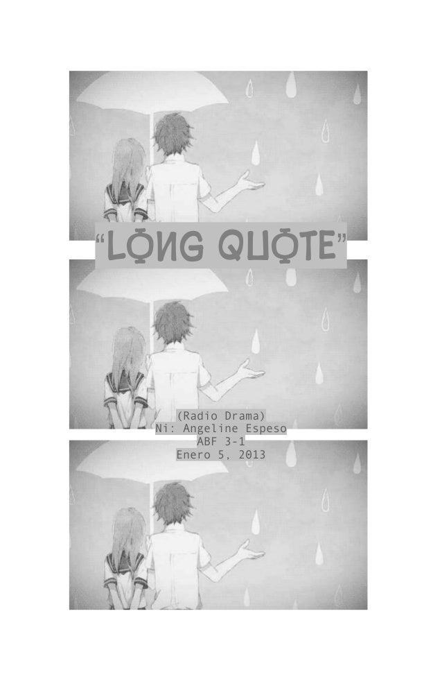 """LONG QUOTE"" (Radio Drama) Ni: Angeline Espeso ABF 3-1 Enero 5, 2013"