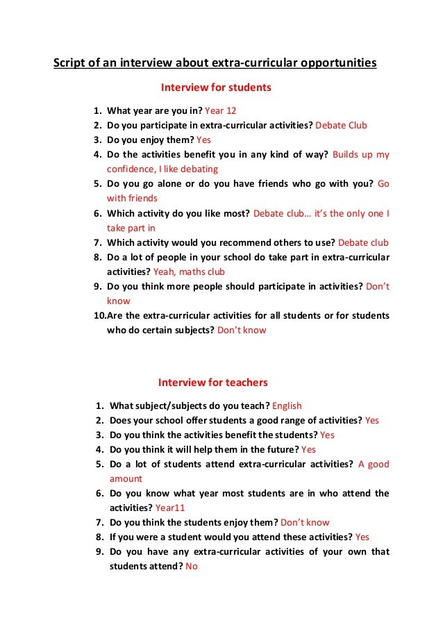 Script of an interview about activities