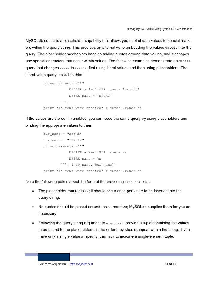 Scripts Python Dbapi