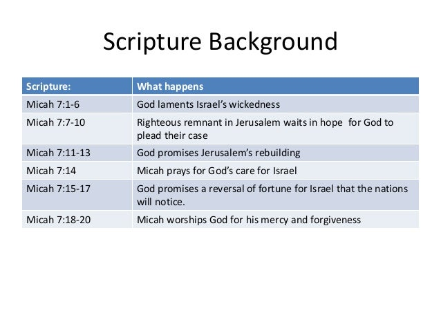 Scripture Background Scripture: What happens Micah 7:1-6 God laments Israel's wickedness Micah 7:7-10 Righteous remnant in...