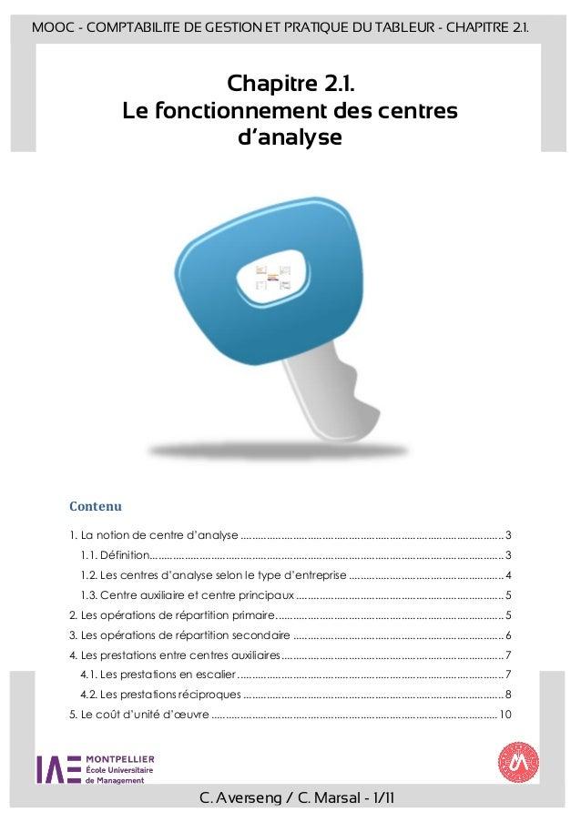C. Averseng / C. Marsal - 1/11 MOOC - COMPTABILITE DE GESTION ET PRATIQUE DU TABLEUR - CHAPITRE 2.1. Chapitre 2.1. Le fonc...