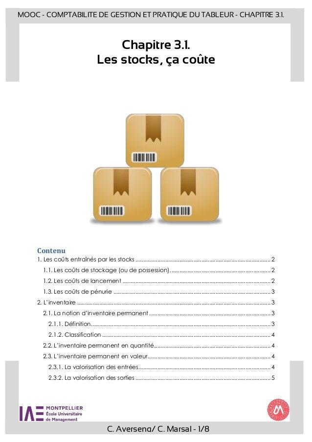 C. Averseng/ C. Marsal - 1/8 MOOC - COMPTABILITE DE GESTION ET PRATIQUE DU TABLEUR - CHAPITRE 3.1. Chapitre 3.1. Les stock...
