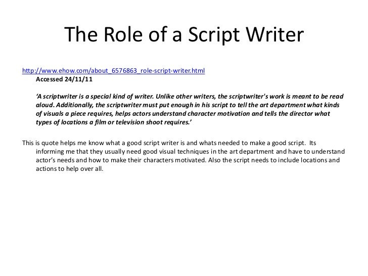 Script writing and the commissioning process – Script Writing
