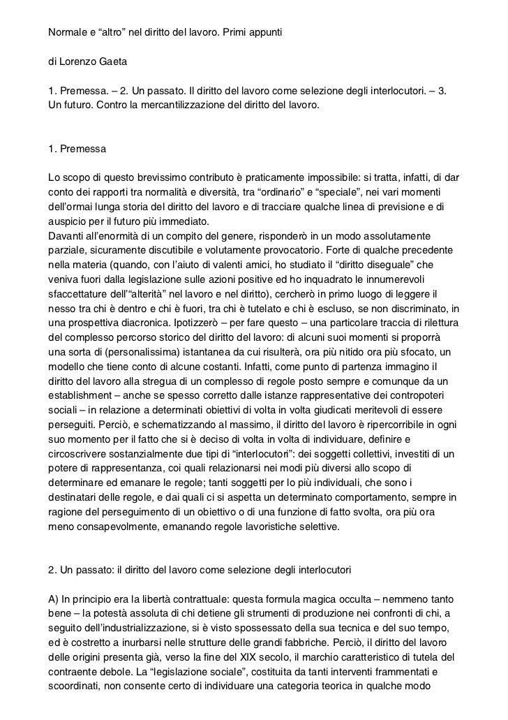"""Normale e """"altro"""" nel diritto del lavoro. Primi appuntidi Lorenzo Gaeta1. Premessa. – 2. Un passato. Il diritto del lavoro..."""