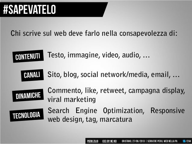 Chi scrive sul web deve farlo nella consapevolezza di: Testo, immagine, video, audio, … Sito, blog, social network/media, ...