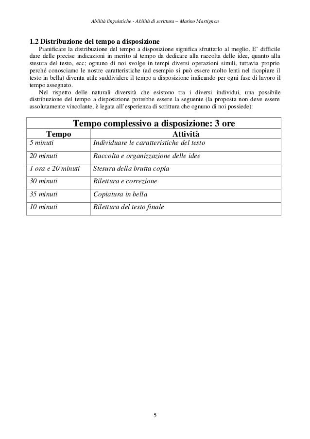 Abilità linguistiche - Abilità di scrittura – Marino Martignon 5 1.2 Distribuzione del tempo a disposizione Pianificare la...