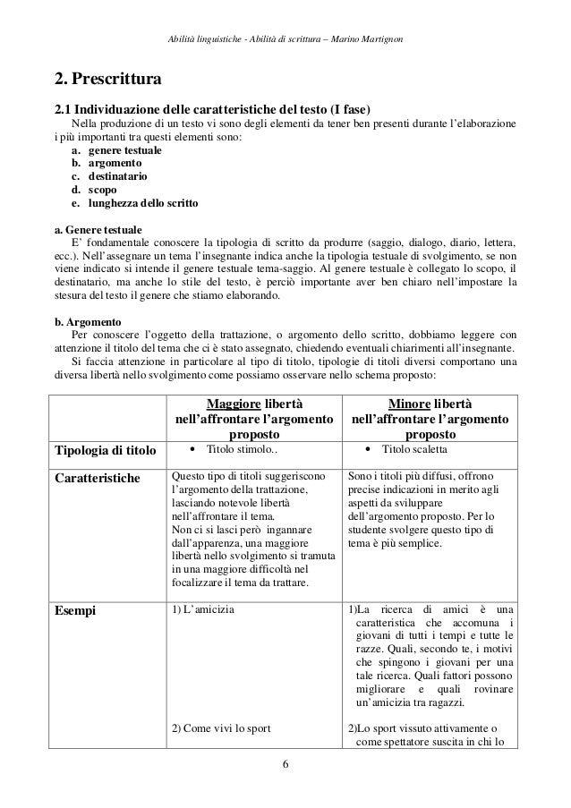 Abilità linguistiche - Abilità di scrittura – Marino Martignon 6 2. Prescrittura 2.1 Individuazione delle caratteristiche ...