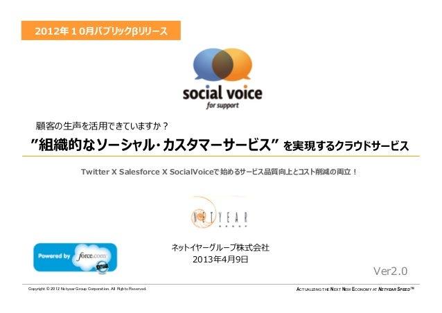 """2012年10月パブリックβリリース    顧客の生声を活用できていますか? """"組織的なソーシャル・カスタマーサービス"""" を実現するクラウドサービス                            Twitter X Salesforce..."""