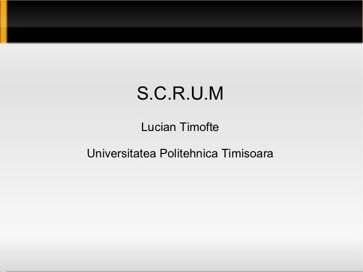 S.C.R.U.M Lucian Timofte Universitatea Politehnica Timisoara