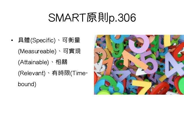 SMART原則p.306 • 具體(Specific)、可衡量 (Measureable)、可實現 (Attainable)、相關 (Relevant)、有時限(Time- bound)