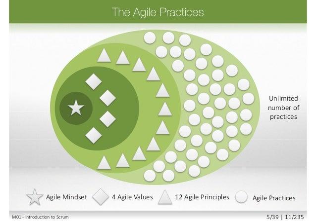 Scrum XP AgilePM SAFe Agile PracticesAgile Mindset 4 Agile Values 12 Agile Principles Being Agile Doing Agile M01 - Introd...