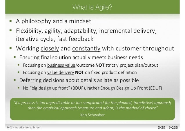 Agile PracticesAgile Mindset 4 Agile Values Unlimited number of practices 12 Agile Principles M01 - Introduction to Scrum ...
