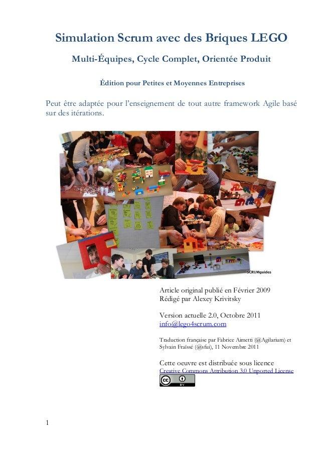 Simulation Scrum avec des Briques LEGO Multi-Équipes, Cycle Complet, Orientée Produit Édition pour Petites et Moyennes Ent...