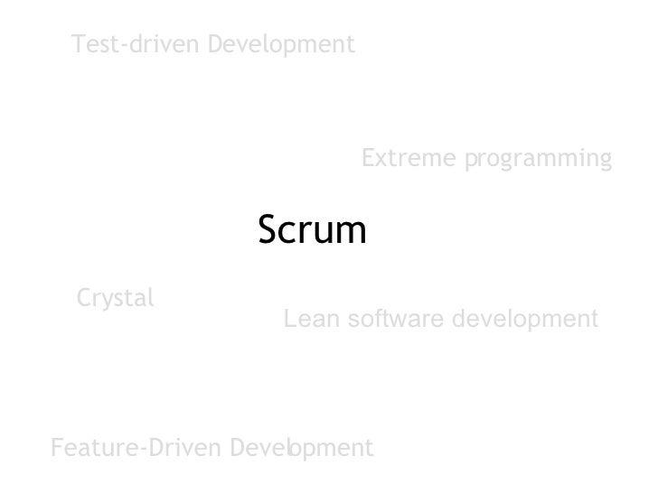 Feature-Driven Development Test-driven Development Crystal Extreme programming Scrum Lean software development