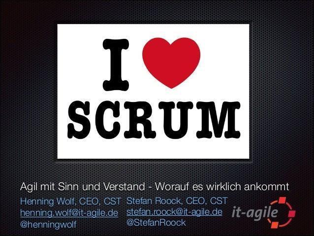 Agil mit Sinn und Verstand - Worauf es wirklich ankommt Henning Wolf, CEO, CST Stefan Roock, CEO, CST henning.wolf@it-agil...