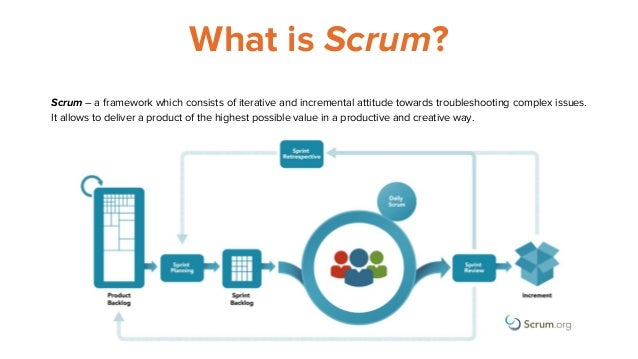 What is Scrum? Scrum – a framework which consists of iterative and incremental attitude towards troubleshooting complex is...