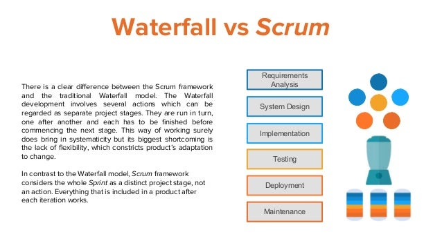 Waterfall vs Scrum Requirements Analysis System Design Implementation Testing Deployment Maintenance There is a clear diff...