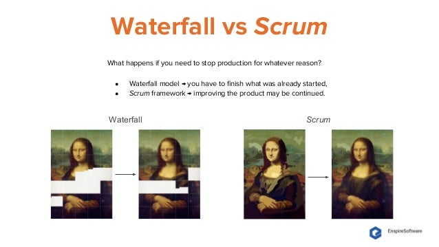 Waterfall vs Scrum Waterfall Scrum What happens if you need to stop production for whatever reason? ● Waterfall model → yo...
