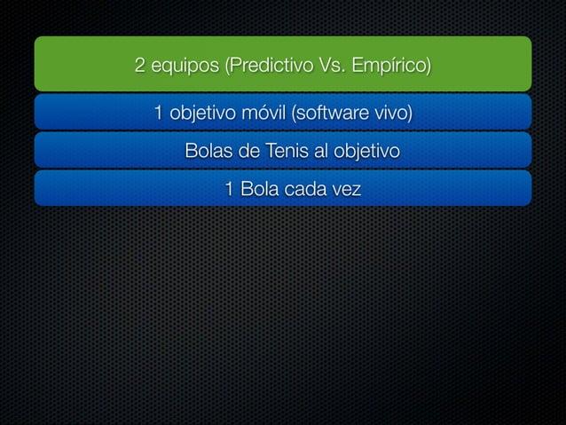 2 equipos (Predictivo Vs.  Empírico)  1 objetivo móvil (software vivo) Bolas de Tenis al objetivo  1 Bola cada vez Equipo ...