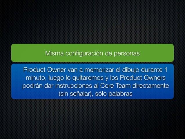 Misma configuración de personas  Product Owner van a memorizar el dibujo durante 1 minuto,  luego Io quitaremos y los Prod...