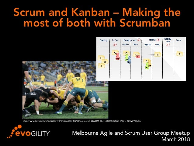 """Scrum and Kanban – Making the most of both with Scrumban Melbourne Agile and Scrum User Group Meetup March 2018 h""""ps://www..."""