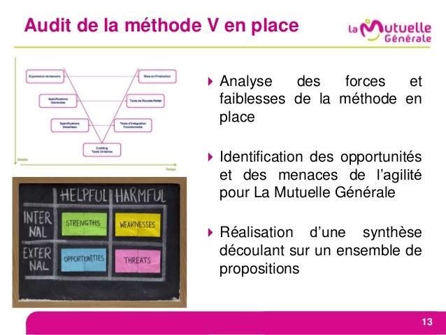 Audit de la méthode V en place 13 Analyse des forces et faiblesses de la méthode en place Identification des opportunité...