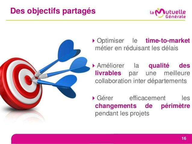 Des objectifs partagés 16 Optimiser le time-to-market métier en réduisant les délais Améliorer la qualité des livrables ...