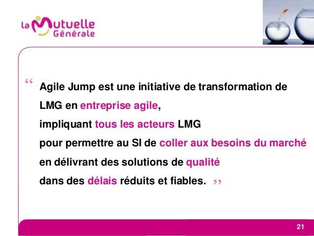 Agile Jump est une initiative de transformation de LMG en entreprise agile, impliquant tous les acteurs LMG pour permettre...