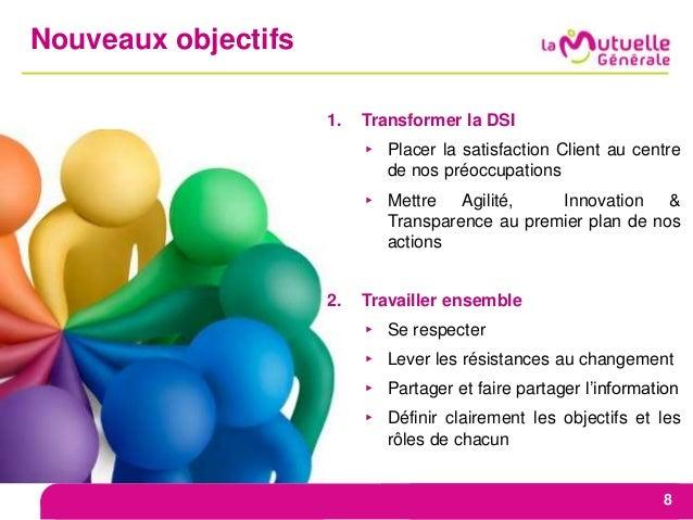 Nouveaux objectifs 8 1. Transformer la DSI ▸ Placer la satisfaction Client au centre de nos préoccupations ▸ Mettre Agilit...