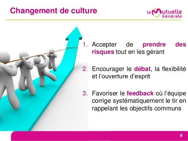 Changement de culture 9 1. Accepter de prendre des risques tout en les gérant 2. Encourager le débat, la flexibilité et l'...