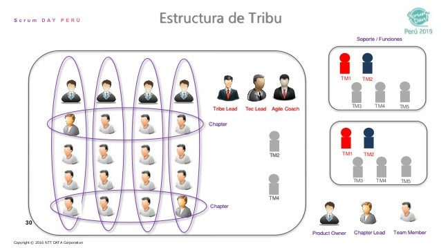 30 Estructura de Tribu Copyright © 2016 NTT DATA Corporation Tribe Lead Tec Lead Agile Coach Product Owner Chapter Lead Te...